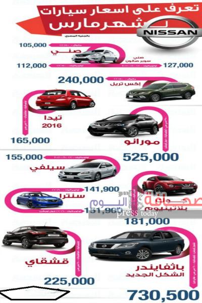 أسعار سيارات نيسان  مارس 2016