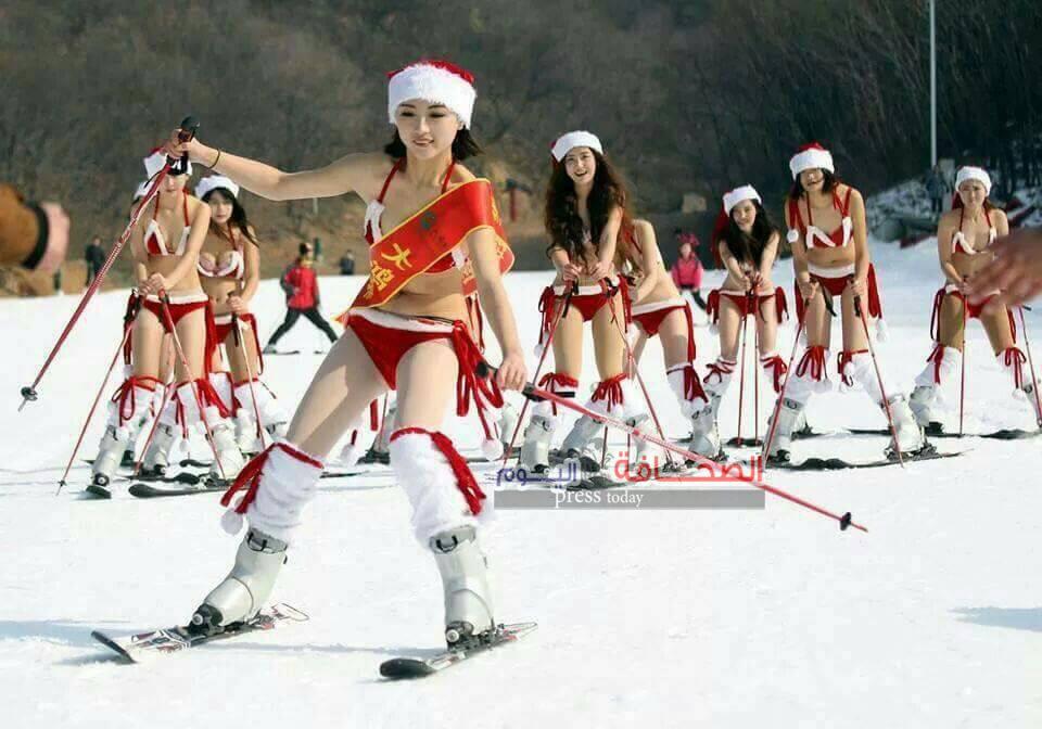 ملكة جمال تايوان تحتفل بالعام الجديد بالتزحلق على الجليد