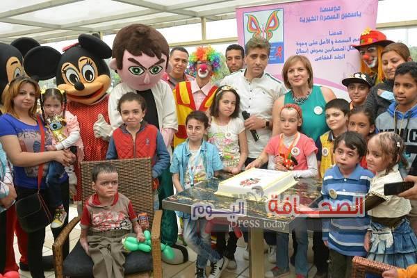 """بالصور ..مؤسسة """"ياسمين"""" تحتفل بالعيد الرابع مع الاطفال مرضى الجلد الفقاعى"""