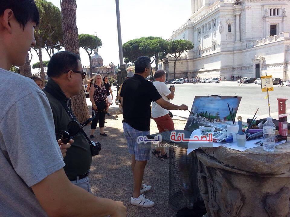 بالصور:ورشة عمل لفريق (فن بلا حدود) بميادين روما