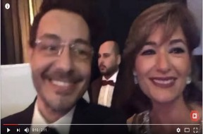 احمد زاهر وزوجته أثناء حضور فرح نجم مسرح مصر مصطفي خاطر