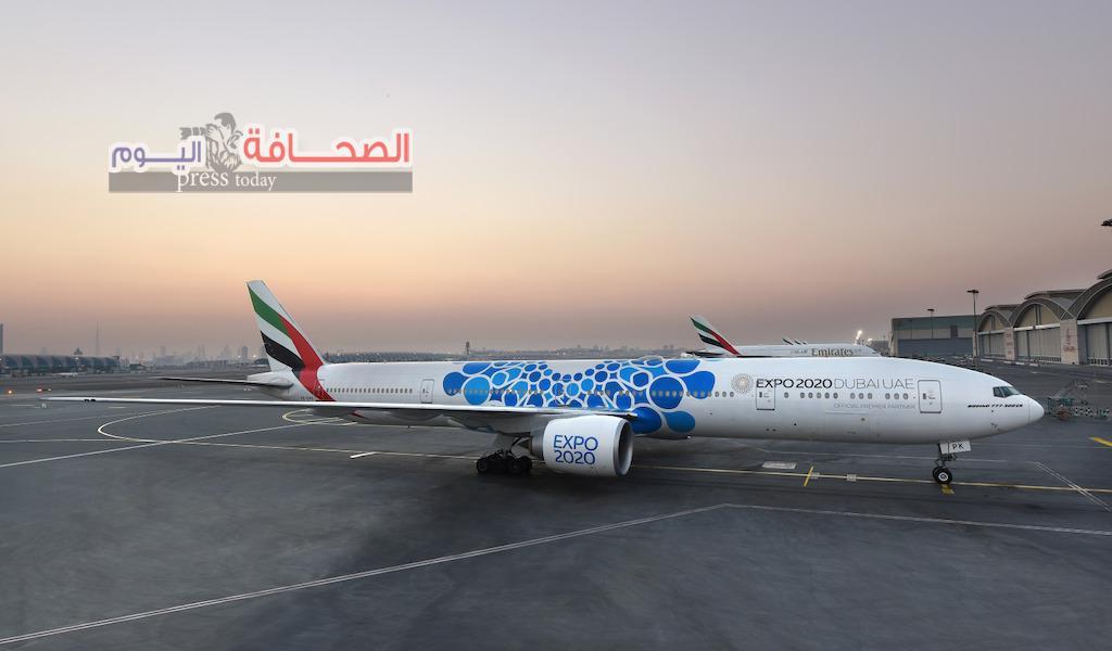 طيران الإمارات تكشف عن ملصق لإكسبو 2020 دبي على إحدى طائراتها