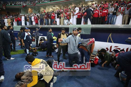 أحمد اليوسف:لاتوجد إصابات خطيرة فى حادث سقوط الحاجز الزجاجى بإستاد جابر الأحمد