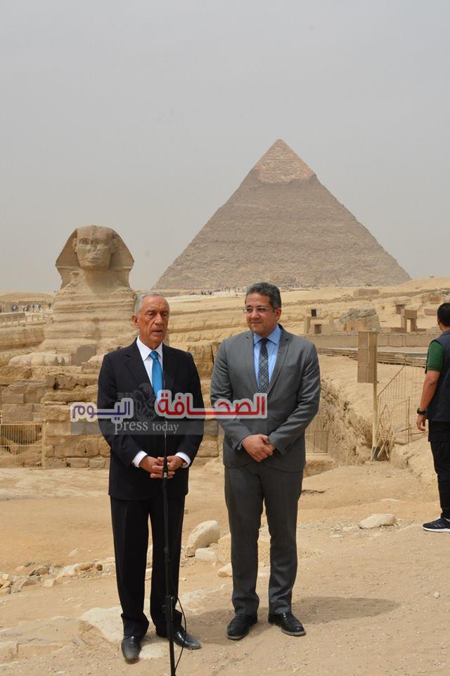 بالصور .. رئيس البرتغال يزور الاهرامات وأبو الهول ورمسيس الثانى