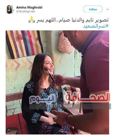 """أمينة مغربي تستكمل تصوير """"نسر الصعيد"""""""