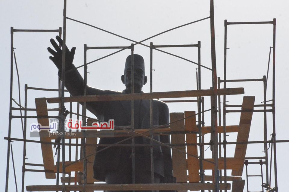 بالصور .. ترميم تمثال الزعيم سعد زغلول