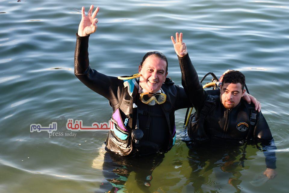بالصور .. بطل العالم لذوى الهمم يدعو لسياحة الاثار الغارقة بالاسكندرية